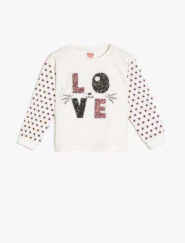 Koton Kids Pul Detaylı Sweatshirt Ekru